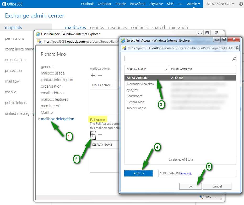 How to assign Delegate Access Full Access Permissions to Office365